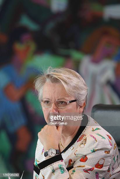 German Education Minister Annette Schavan arrives for the weekly German government cabinet meeting on September 21 2011 in Berlin Germany High on the...