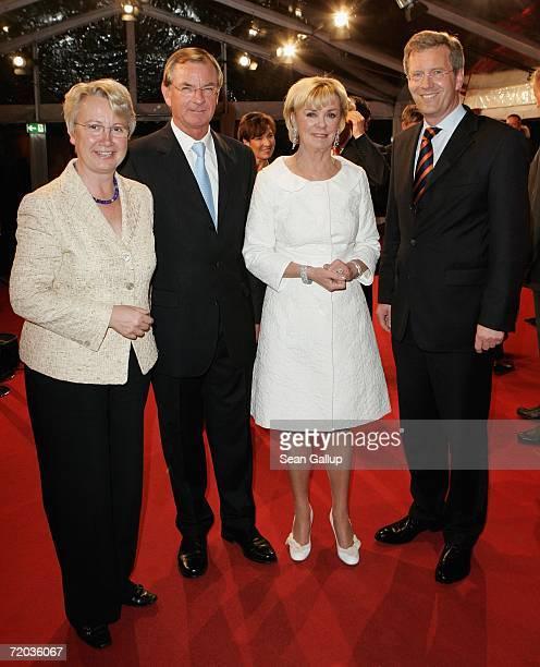 German Education Minister Annette Schavan Bertelsmann Chairman Gunter Thielen Bertelsmann ViceChairwoman Liz Mohn and Christian Wulff Governor of the...
