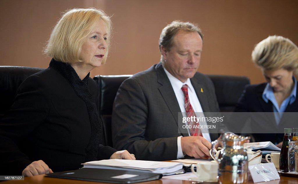 German Education Minister Johanna Wanka , Development Minister Dirk Niebel and Labour Minister Ursula von der Leyen attend the weekly cabinet meeting at the Chancellery in Berlin, Germany on February 27, 2013.
