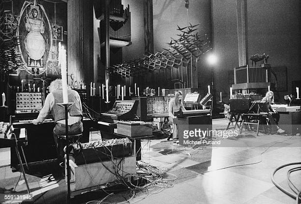 German electronic music group Tangerine Dream performing at Coventry Cathedral Warwickshire 4th October 1975 Left to right Edgar Froese Christopher...