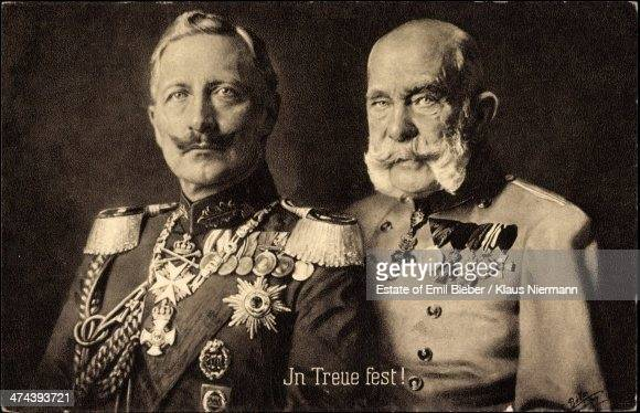 German emperor Kaiser Wilhelm II of Germany and Emperor Franz Joseph I of Austria circa 1905 The caption at bottom centre reads 'In Treue fest'