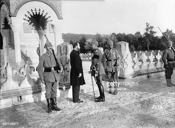 German Emperor Wilhelm II with August von Mackensen in Curtea de Arges Romania in front of the church that houses the tombs of King Charles and Queen...