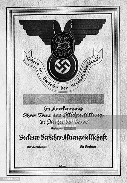 German Empire Free State Prussia Brandenburg Province Berlin A deed for 25 years of service in the Berliner Verkehrsbetriebe BVG Photographer Paul...