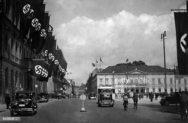 German Empire Free State Prussia Brandenburg Province Berlin Wilhelmstrasse and Reichskanzlei with swastika flags On the right the ministry of...