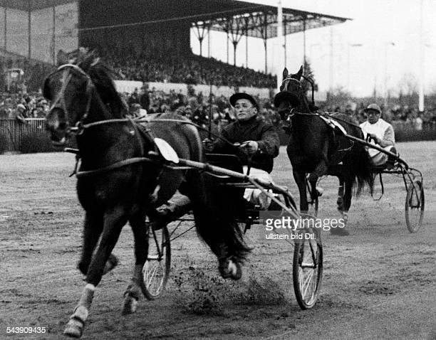 German Empire Free State Prussia Brandenburg Province Berlin Harness racing track Mariendorf ' Xijra ' in front of ' Anmut ' during the Buddenbrock...
