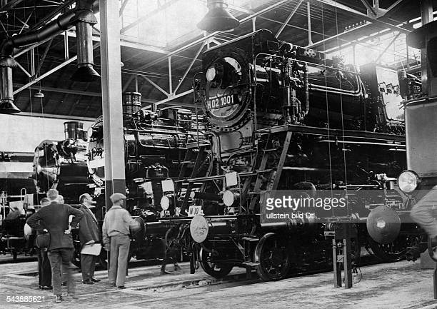German Empire Free State Prussia Brandenburg Province Berlin Exhibition of the newest locomotives at the depot Tempelhof...
