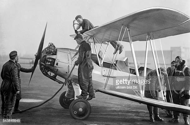 German Empire Free State Prussia Brandenburg Province Berlin on the airfield of a aviation school the pupils preparing to take off refuel starting...