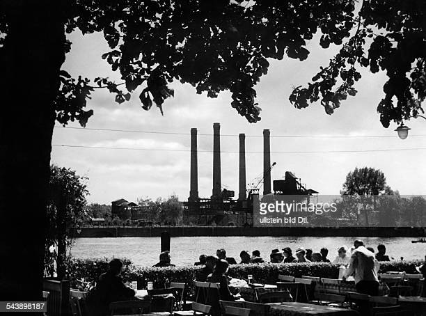 German Empire Free State Prussia Brandenburg Province Berlin Rummelsburg Power plant 'Klingenberg' as seen from the restaurant 'Eierhaeuschen'...