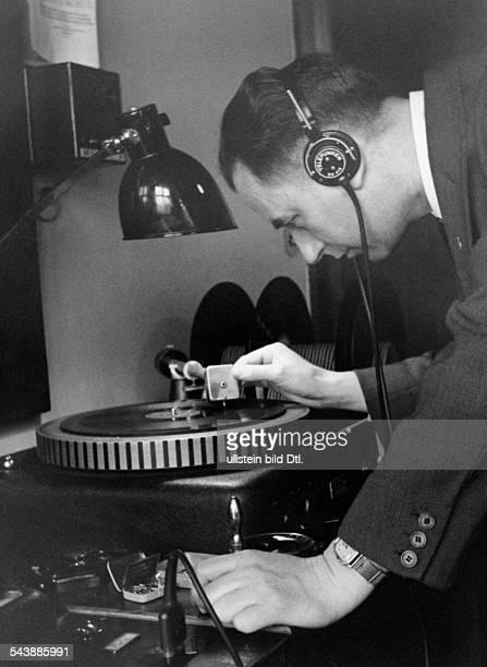 German Empire Free State Prussia Brandenburg Province Berlin Radio station ' Reichssender Berlin ' Engineer plays short reports on turntables...