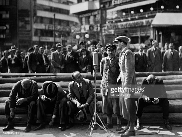 German Empire Free State Prussia Brandenburg Province Berlin Radio announcer competition at the Potsdamer Platz interview with a newspaper man...