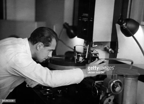 German Empire Free State Prussia Brandenburg Province Berlin Radio station ' Reichssender Berlin ' Engineer is sorting the reports for the broadcast...