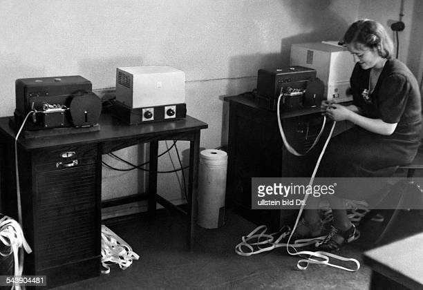 German Empire Free State Prussia Brandenburg Province Berlin Radio station ' Grossdeutscher Rundfunk ' News on tapes of a ' Hellschreiber ' in the...