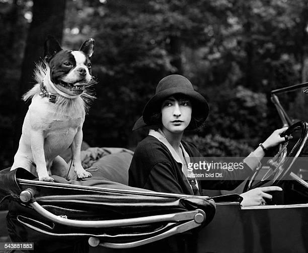 German Empire Free State Prussia Brandenburg Provinz Berlin Mrs Goldschmidt with her french Bulldog in her cabriolet Photographer Atelier Binder...