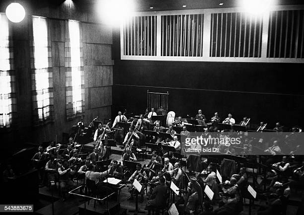 German Empire Free State Prussia East Prussia Province Orchestra of the radio station ' Reichssender Koenigsberg ' during a concert in the large...