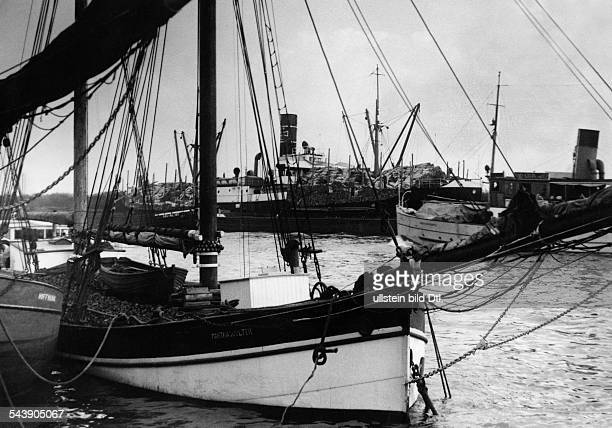German Empire Free State Prussia Pomerania province Stettin bulk carriers in the port Photographer Ullmann Published by 'Hier Berlin' 29/1936Vintage...