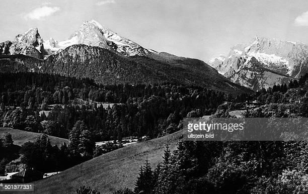 Berchtesgaden the bavarian alps on the right the mountain 'Watzmann' undated probably around 1910 Photographer Haeckel