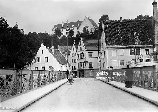 German Empire Kingdom Bavaria Pedestrians at a bridge in the inner city of Landsberg am Lech Photographer Philipp Kester 1909Vintage property of...