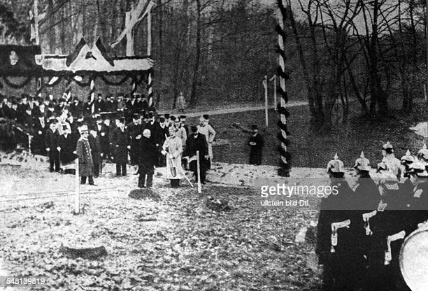 German Empire Kingdom Prussia Berlin Berlin The crown prince Frederick William of Prussia turned the first sod of the Teltow Canal in the Park of...