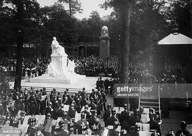 German Empire Kingdom Prussia Brandenburg Province Berlin Disclosure of the RichardWagnerMemorial in Berlin with background music of a military band...