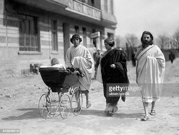 German Empire Kingdom Prussia Brandenburg Province Berlin Isadora Duncan with male nurse and daughter at walk in Berlin Photographer Philipp Kester...