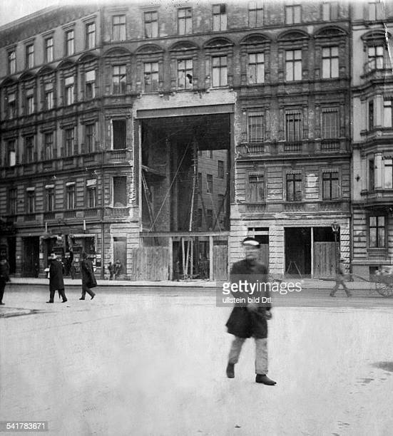 German Empire Kingdom Prussia Brandenburg Provinz Berlin Building of the Berlin Underground the future line is crossing an apartment building in the...