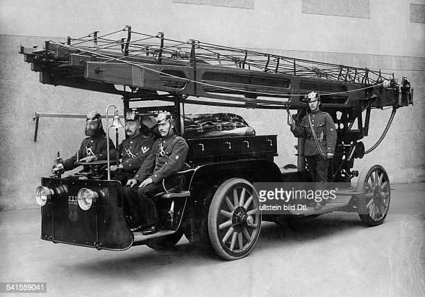 German Empire Kingdom Prussia Brandenburg Provinz Berlin Fire service firemen sitting on a fire engine Photographer Albert Hoffmann 1907Vintage...