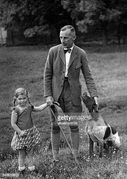 German Empire Kingdom Prussia East Prussia Province Memel Landowner Konrad with his daughter and dog on his country estate whose land use is model...