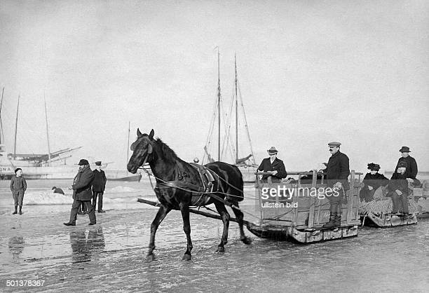 German Empire Kingdom Prussia Pomerania province Stralsund sleigh transporting people between the island and the mainland undated probably around...