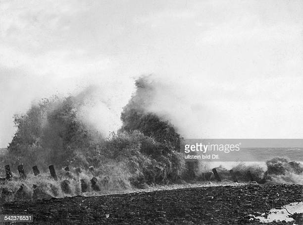 German Empire Kingdom Prussia SchleswigHolstein Province Helgoland storm surge a the beach 1898 Photographer Franz Schensky Vintage property of...