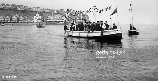 German Empire Kingdom Prussia SchleswigHolstein Province Helgoland Inauguration of a new ferry at the event of the centenary of the sea resort...