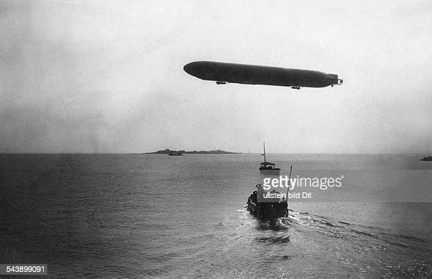 German Empire Kingdom Prussia SchleswigHolstein Province Helgoland The Zeppelinairship 'Viktoria Luise' flying over the North Sea near Helgoland 1912...