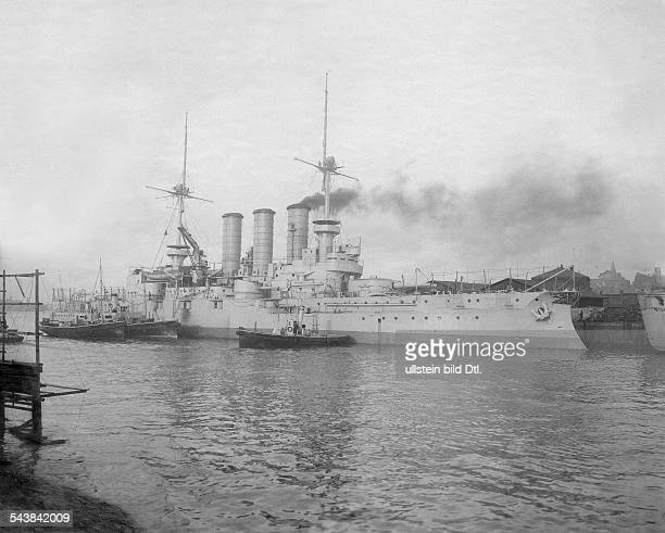 German Empire Kingdom Prussia SchleswigHolstein Province Kiel The battleship SMS 'Braunschweig' in the harbour 1904 Photographer A Renard Vintage...