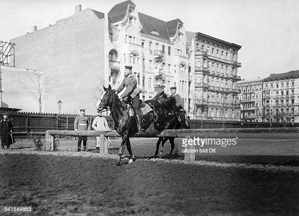German Empire military 1st Garde Draggon Regiment in Berlin Kreuzberg dragoons at the jumping course 1905Vintage property of ullstein bild