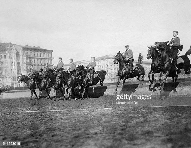 German Empire military 1st Garde Draggon Regiment in Berlin Kreuzberg dragoons at the training jumping course published in Berliner Illustrirte...