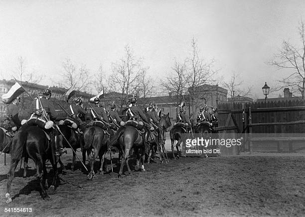 German Empire military 1st Garde Draggon Regiment in Berlin Kreuzberg dragoons on horsees 1905Vintage property of ullstein bild