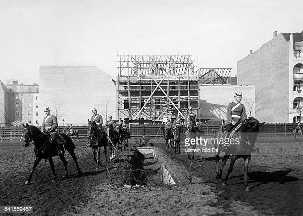 German Empire military 1st Garde Draggon Regiment in Berlin Kreuzberg dragoons exercising on horses 1905Vintage property of ullstein bild