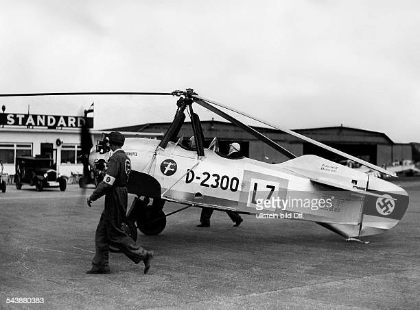 German Empire wind mill airplane 'Autogiro' starting to a flight over Germany Photographer Hans Henschke Published by 'BZ' Vintage property of...