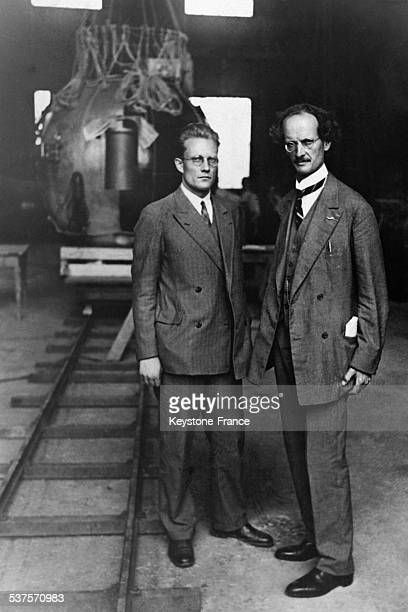 German engineer Paul Kipfer and Swiss physicist Auguste Piccard before their flight in the stratosphere aboard of a dirigible in May 1931 in...