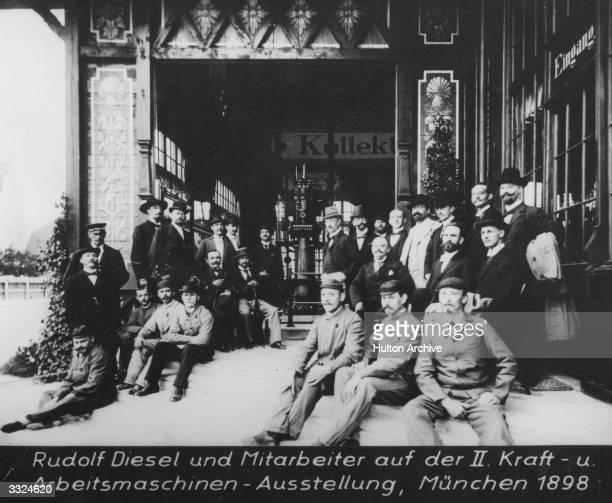 German engineer Rudolf Diesel with his workers at an engineering exhibition 'Kraft und ArbeitsmaschinenAusstellung' in Munich