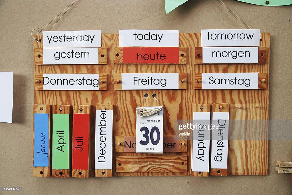 german english calendar : Stock Photo