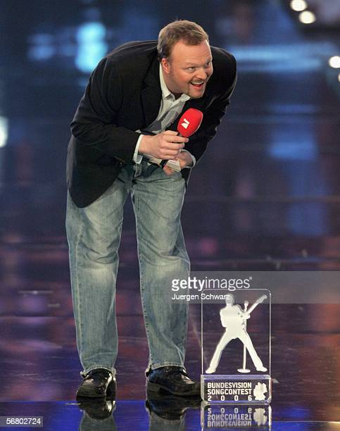 German entertainer and TVhost Stefan Raab presents the trophy of the Bundesvision Song Contest 2006 on February 8 2006 in Wetzlar Germany 16 German...