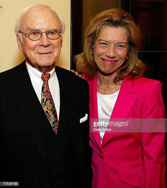 German entertainer Vicco von Buelow better known by his stagename Loriot poses for a photograph with actress Evelyn Hamann during a celebration of...
