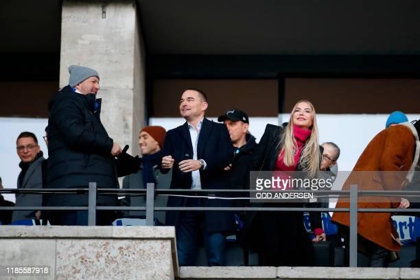 German entrepreneur Lars Windhorst arrives to watch the match prior the German first division Bundesliga football match Hertha Berlin v Borussia...