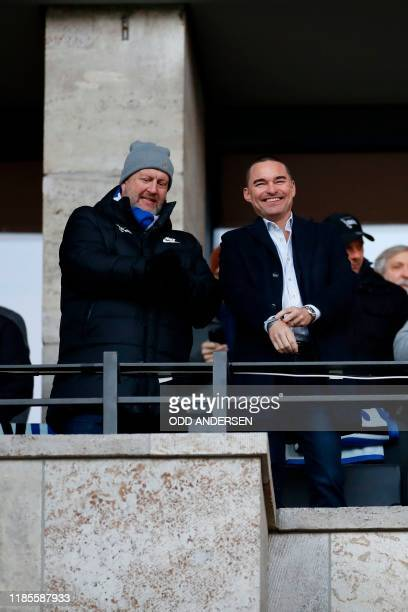 German entrepreneur Lars Windhorst watches the match during the German first division Bundesliga football match Hertha Berlin v Borussia Dortmund in...
