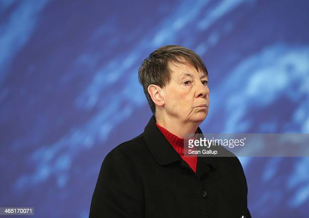 German Environment Minister and member of the German Social Democrats Barbara Hendricks attends a federal congress of the SPD on January 26 2014 in...