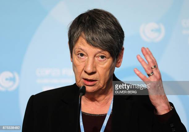German Environment Minister Barbara Hendricks addresses a press confereence on the last day of the COP23 United Nations Climate Change Conference in...