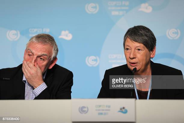 German Environment Minister Barbara Hendricks and Environment Ministry state secretary Jochen Flasbarth address a press confereence on the last day...