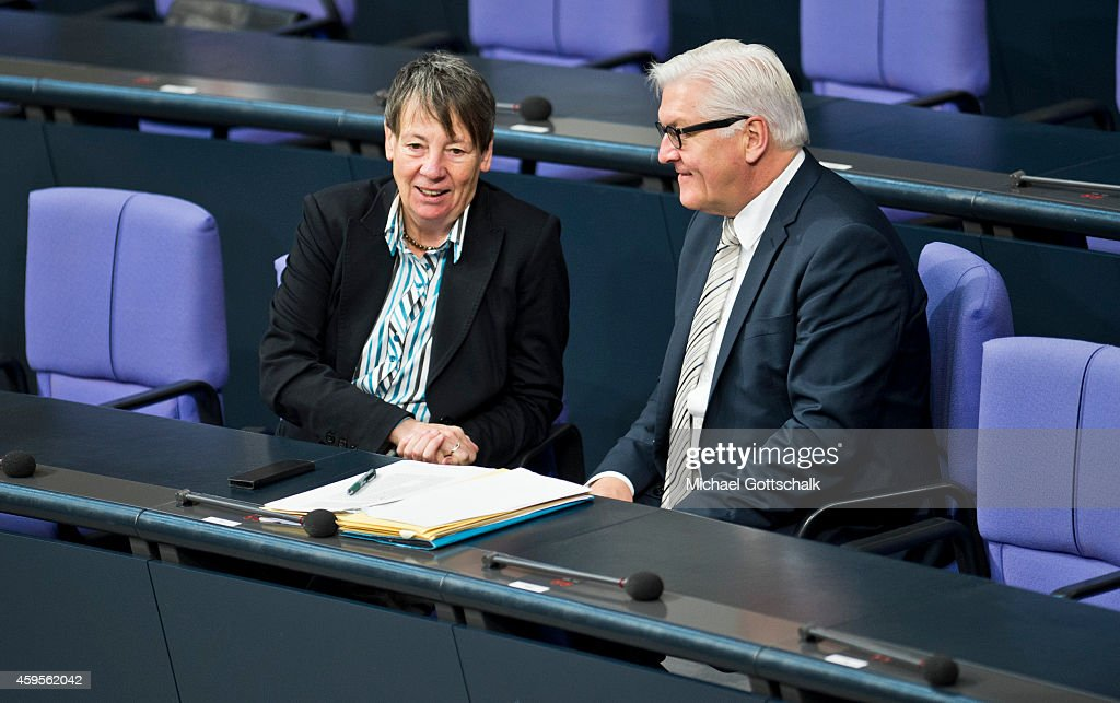 German Environment Minister Barbara Hendricks and German Foreign Minister Frank-Walter Steinmeier attends the budget debate in German Bundestag on November 25, 2014 in Berlin, Germany. German Finance Minister Wolfgang Schaeuble wants EU to have budget veto powers over national budgets that breach Eurozone criteria.