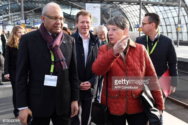 German Environment Minister Barbara Hendricks Richard Lutz chairman of German railway operator Deutsche Bahn and Fiji's Climate Ambassador Deo Saran...