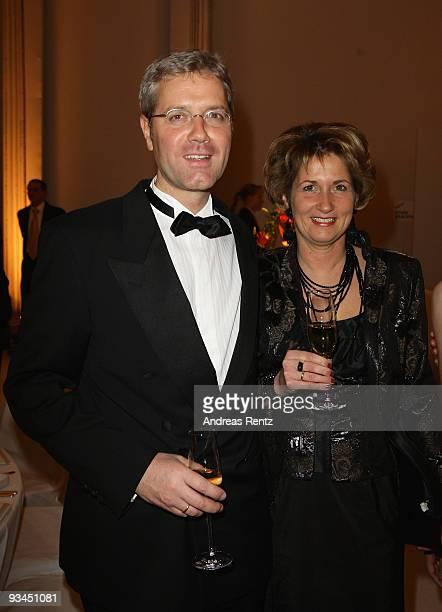 German Environment Minister Norbert Roettgen and his wife Ebba HerfsRoettgen attend the annual press ball 'Bundespresseball' at the Intercontinental...